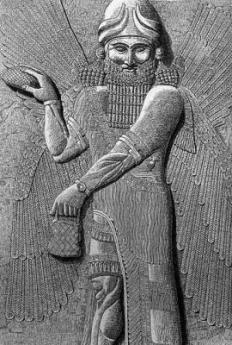 Hermes Trismegisto con alas y sujetando una piña simbolo de la glandula pineal (Sumeria)