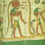 Tot con cabeza de pájaro y una serpiente en su corona y otra encapsulándolo (Egipto)